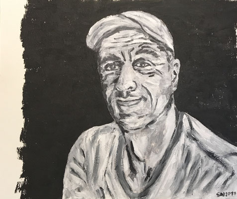 SELFPORTRAIT IN B/W  Oilpainting on canvas grain, ca. 21 x 28 cm