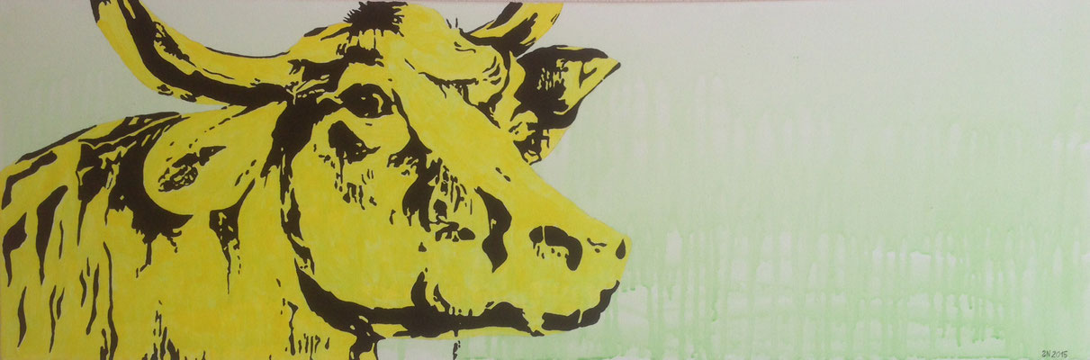 YELLOW BUFFALO  Acrylpainting on canvas, 40 x 120 cm