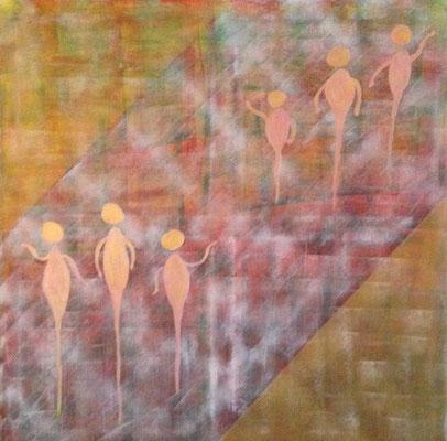 GOLDEN PEOBLE  Acrylpainting on canvas, ca. 70 x 70 cm