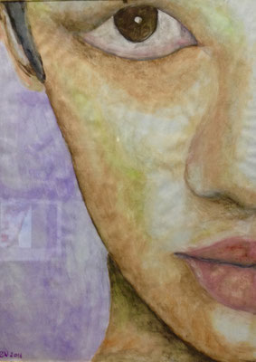 FACE  Water-soluble colour wax pastels on canvas grain, ca. 20 x 30 cm