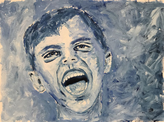 HAPPY  Oilpainting on canvas grain, ca. 21 x 28 cm