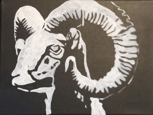 ARIES  Acrylpainting on canvas, ca. 20 x 20 cm
