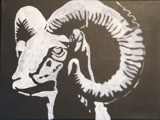 ARIES  Acrylpainting on canvas, ca. 20 x 20 cm