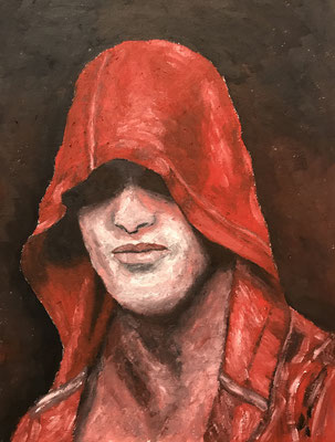 RED HOODIE  Oilpainting on canvas grain, ca. 21 x 28 cm