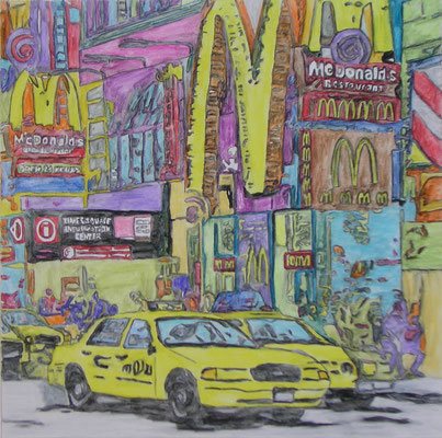 NYC TAXI NO 2  Water-soluble colour wax pastels on canvas grain, ca. 80 x 80 cm