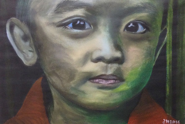 CHINESE CHILD  Oilpainting on canvas grain, ca. 21 x 29 cm