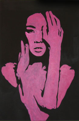 WOMAN IN PINK  Acrylpainting on canvas, ca. 40 x 60 cm