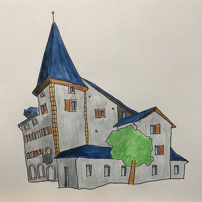 CHATEAU DE CHASTONAY  Water-soluble colour wax pastels on canvas grain, ca. 42 x 56 cm