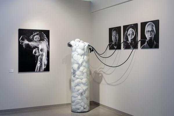 Woke-xygen Tank, 2018, collaboration with Jeff Cravotta, mixed media installation at Elder Gallery of Contemporary Art