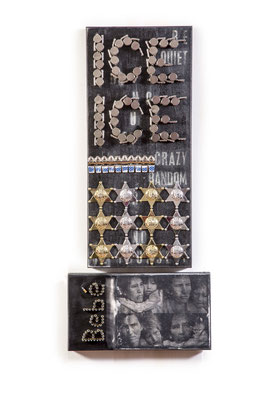 """ICE ICE Bebé, 2017, photo montage includes Migrant mother by Dorothea Lange,  11""""x 25"""", 15"""" x 8"""", mixed media, metal whistles, toy badges, bullets, photo transfer on wood"""