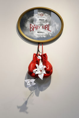 Gem, 2018, mixed media - boxing gloves, embroidery, mirror, lyrics by Lauryn Hill, photo courtesy Jeff Cravotta