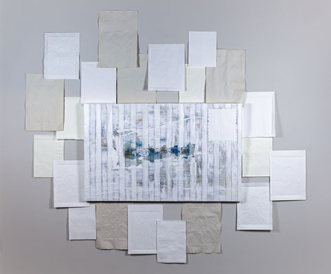 Presorted, second class, 2020, embossed paper, oil and acrylic on canvas, installation view at McColl Center for Art + Innovation