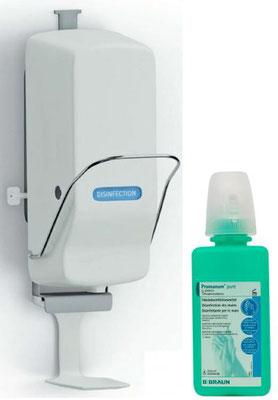 Desinfektionsspender inkl. Flasche 500 ml Desinfektionmittel für Hände, versperrt mit Schlüssel