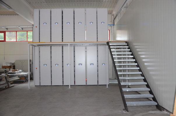 Doppelstöckiges Rollregal, Verschieberegallager - Planung & Beratung - lagerconsulting.at