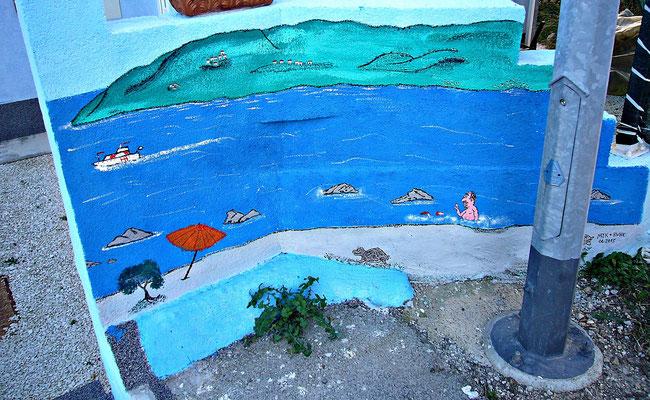 Wandmalerei beim Haus Viersen in Kroatien