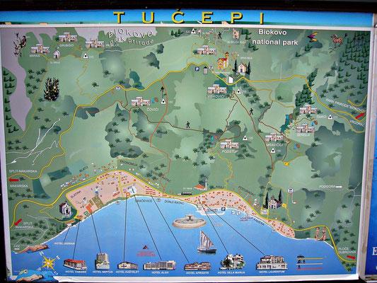 Karte von Tucepi