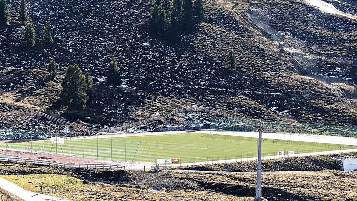 Der Fußballplatz von Kühtai auf über 2000 Meter höhe.