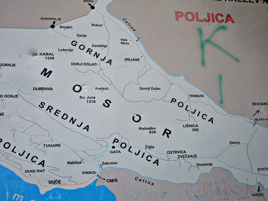 Karte von der Cetina
