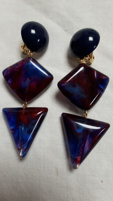 Three tiered clipons in blues and mauves and magenta. €85