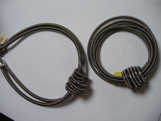 Jérémie Barthod, France, piano wire,  bracelet €69, necklace €98