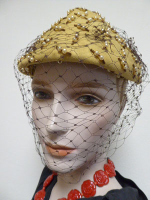 Forties - pale yellow woollen beret with large full-face veiling. Covered in pearls & jewels, some of which are missing,  but hard to see when worn.