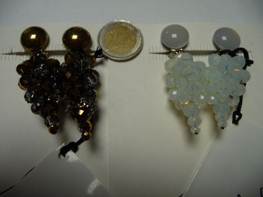 Langani Ohrclips - kupfer/grau - facettierte Glasschiffperlen €98...weisslich/bläulich -  facettierte Glasschiffperlen €98