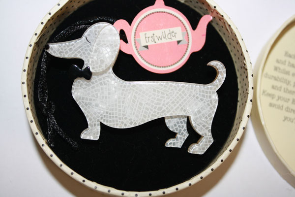 SOLD Spiffy the Sausage Dog, unsigned, very early piece, with tag.