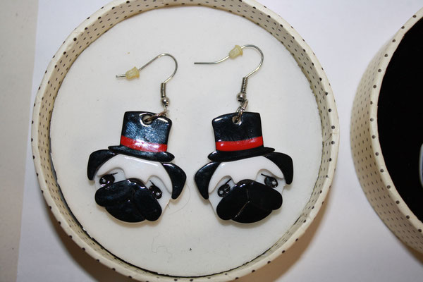 SOLD Don the Dapper Pug, earrings
