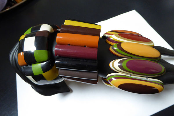 Marion Godart bangles, Paris, contemp. resin. Threaded on elastic. Left to right €49, €49, €75