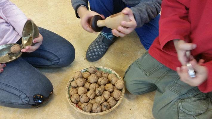 Nüsse knacken mit verschiedenen Werkzeugen