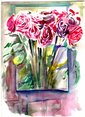 Crazy Roses, 24 x 32 cm, mixed on paper, 2015, sold