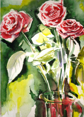 Roses are Red, 24 x 32 cm, wc on paper, 2013 (sold, private collection, Poland)