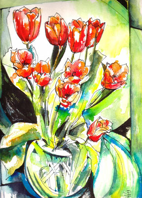 Crazy Tulips, 24 x 32 cm, wc on paper, 2013