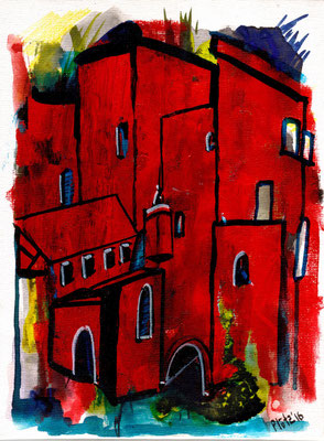 Red Houses, acrylic on carton, 13 x 18 cm, 2018