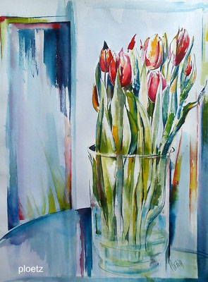 Tulips in January, 50 x 65 cm, watercolour on paper, 2014 (sold, private collection, Austria))
