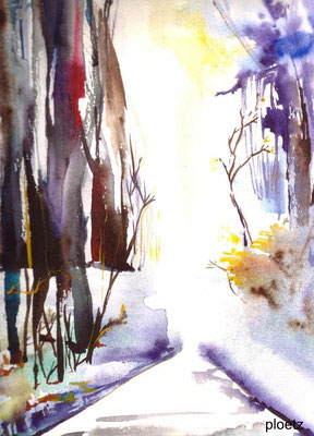 November Woods, 24 x 32 cm, watercolour on paper (sold, private collection, Germany)