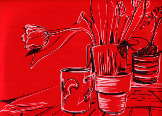Stilllife in Red, 30 x 40 cm, marker on coloured paper, 2016