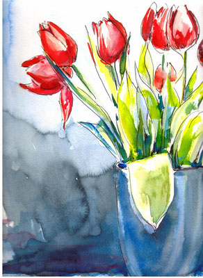 Tulips Again, 30 x 30 cm, wc on paper 2012 (sold)