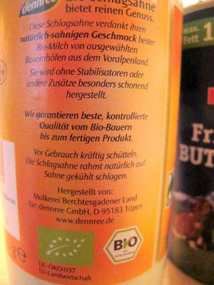 Nur die besten Zutaten: Sahne in Bio-Qualität - ohne Carrageen