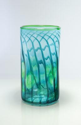 Vase, zylindrisch, mit Optikdekor, smaragdgrün, Höhe 21 cm , Durchmesser 11 cm