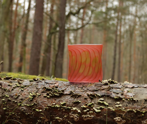 Vase, oval, gesandstrahlt, aurora rötlich, Höhe 16,5 cm, Breite 15 cm