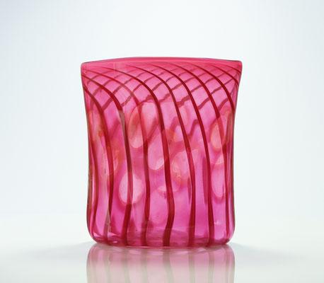 Vase, oval mit Optikdekor, goldrubin, Höhe 18,5 cm, Breite 15 cm