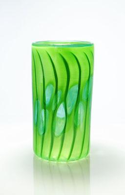 Vase, zylindrisch, mit Optikdekor, opaldunkelgrün, Höhe 21 cm , Durchmesser 11 cm