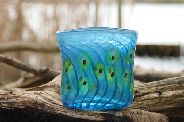 Vase, oval mit Optikdekor, aquablau mit resedagrünen-roten Punkten, Höhe 16 cm, Breite 15 cm