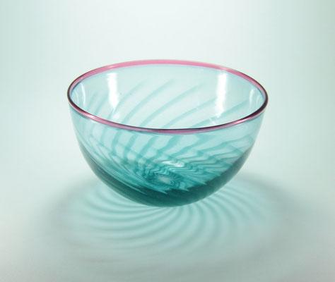 Glasschale, aquablau