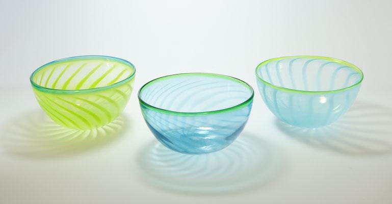 Glasschalen, handgemacht, Durchmesser ca. 15 cm
