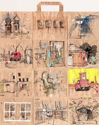 Tütenzeichnung Lazy Sunday, 2018, Bleistift, Farbstift, Aquarellstift, Tuschestift, Collage, ca. 47,5 x 54,5 cm