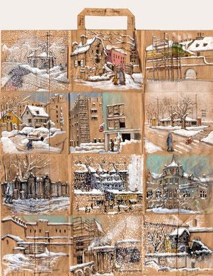 Tütenzeichnung Stadtwinter - Winterstadt, 2019, Bleistift, Chinamarker, Farbstift, Aquarellstift, Tuschestift, ca. 47,5 x 54,5 cm