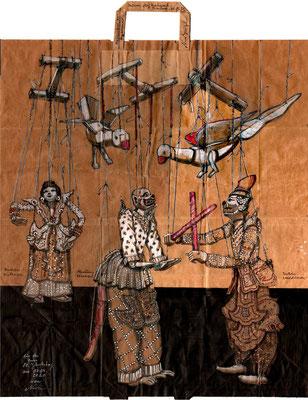 Tütenzeichnung Marionetten Myanmar, 2020, Tuschestifte, Farbstifte, Aquarellmarker, Acrylstifte, ca. 47,5 x 54,5 cm
