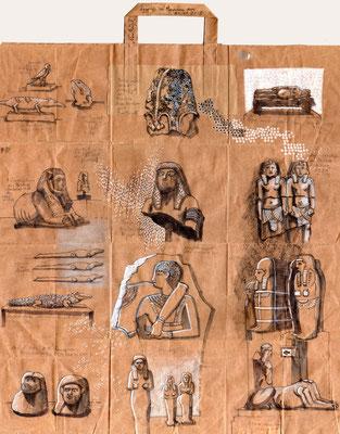 Tütenzeichnung Ägyptisches Museum, 2018, Bleistift, Farbstift, Aquarellstift, Tuschestift, ca. 47,5 x 54,5 cm